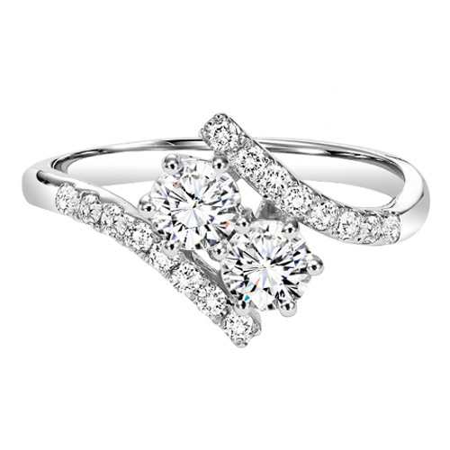 14 KARAT WHITE GOLD AND DIAMOND 'TWOGETHER' RING SET WITH 24 DIAMONDS AT 1/2 CARAT TOTAL WEIGHT