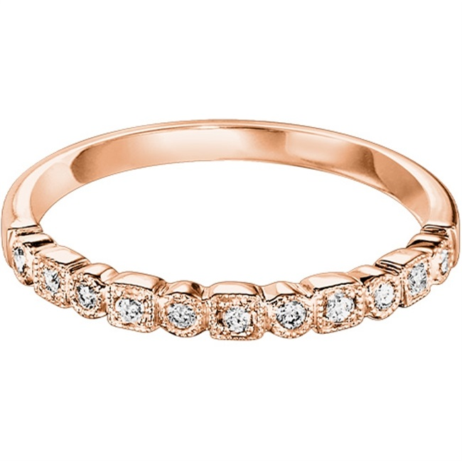 10 KARAT PINK GOLD DIAMOND MIXABLE BAND SET WITH 11 DIAMONDS .12 CARAT TOTAL WEIGHT