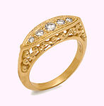 14KT SIDE FILIGREE BAND WITH 5 CUT DIAMOND 26 POINTS.