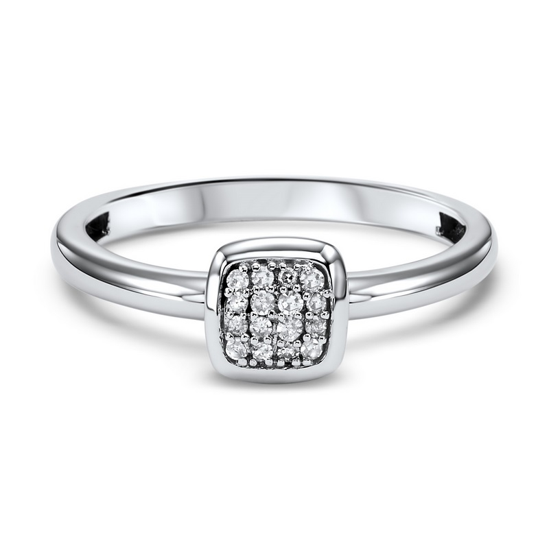 10 KARAT WHITE GOLD SQUARE SHAPED MIXABLE RING SET WITH 16 DIAMONDS .08 CARAT TOTAL WEIGHT