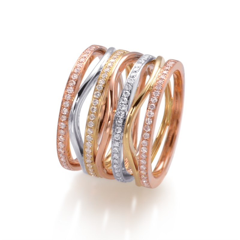 GOLD DIAMOND FASHION RINGS by Frederic Sage