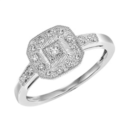 STERLING SILVER AND DIAMOND VINTAGE RING SET WITH 13 DIAMONDS .06 CARAT