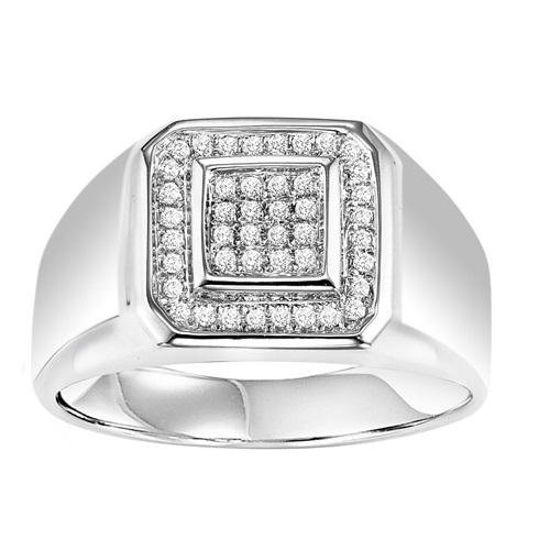 STERLING SILVER MENS DIAMOND RING SET WITH 44 DIAMONDS .23 CARAT TOTAL WEIGHT