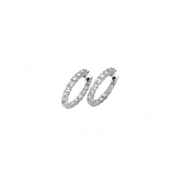 14 KARAT WHITE GOLD DIAMOND IN AND OUT HOOP EARRINGS SET WITH 28 NEAR COLORLESS ROUND DIAMONDS 2 CARAT TOTAL WEIGHT BY ELOQUENCE