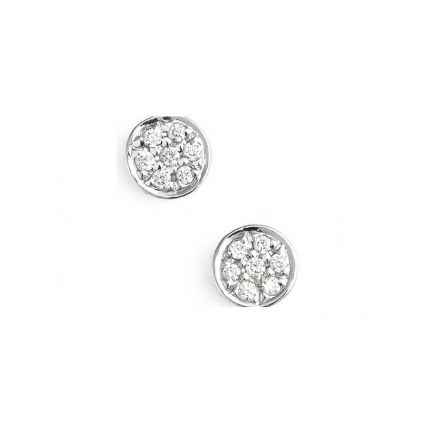 14 KARAT WHITE GOLD PAVE ROUND DIAMOND POST EARRINGS SET WITH 14 ROUND NEAR COLORLESS DIAMONDS 1 CARAT TOTAL WEIGHT BY ELOQUENCE