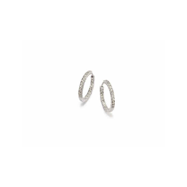 14 KARAT WHITE GOLD AND DIAMOND IN AND OUT HOOP EARRNGS SET WITH .50 CARAT TOTAL WEIGHT IN ROUND NEAR COLORLESS / VS-SI CLARITY DIAMONDS