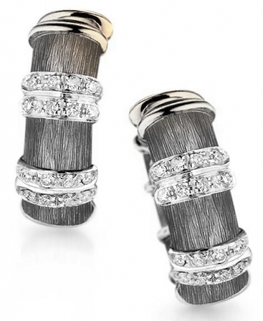 STERLING SILVER/GOLD COMBO DIAMOND EARRINGS by Hendersen Collection