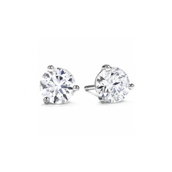 HEARTS ON FIRE 18 KARAT WHITE GOLD 3 PRONG DIAMOND STUD EARRINGS 2.14 CARAT TOTAL WEIGHT NEAR COLORLESS/ VS-SI CLARITY