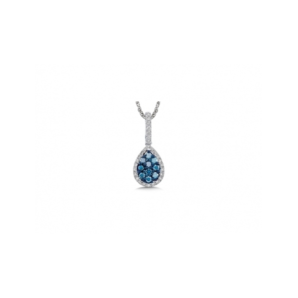 14 KARAT WHITE GOLD PAVE SET DIAMOND PEAR SHAPED PENDANT SET WITH WHITE AND BLUE ROUND BRILLIANT DIAMONDS AT .50  CARAT TOTAL WEIGHT (CHAIN NOT INCLUDED)