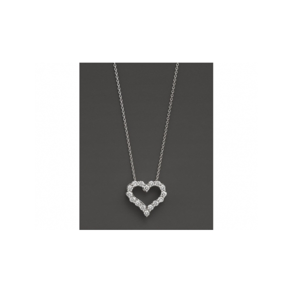 14 KARAT WHITE GOLD DIAMOND HEART PENDANT ON CABLE CHAIN SET WITH 18 NEAR COLORLESS ROUND DIAMONDS .25 CARAT TOTAL WEIGHT BY ELOQUENCE