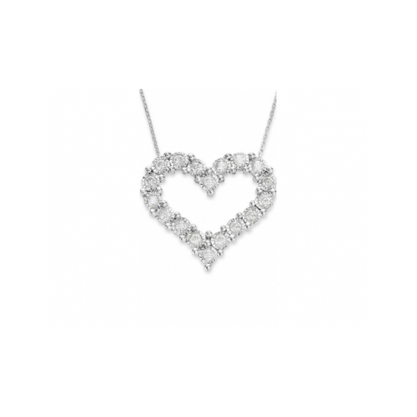 14 KARAT WHITE GOLD DIAMOND HEART PENDANT ON CABLE CHAIN SET WITH 18 ROUND NEAR COLORLESS DIAMONDS 1 CARAT TOTAL WEIGHT BY ELOQUENCE