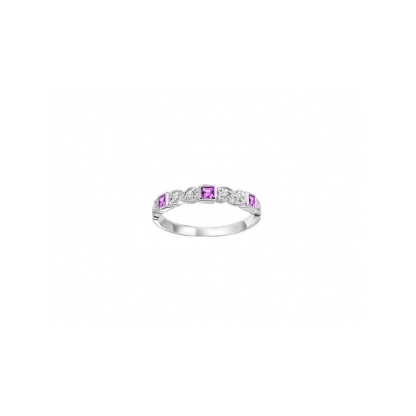 10KWG DIAMOND AND RUBY STACKABLE RING WITH 6 DIAMONDS .09CTW AND 3 RUBIES .19CT