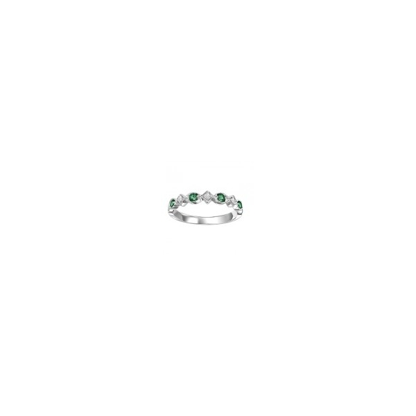 10 KARAT WHITE GOLD  DIAMOND AND EMERALD STACKABLE RING WITH 3 DIAMONDS .05 CARAT TOTAL WEIGHT AND 4 EMERALDS .17 CARAT TOTAL WEIGHT