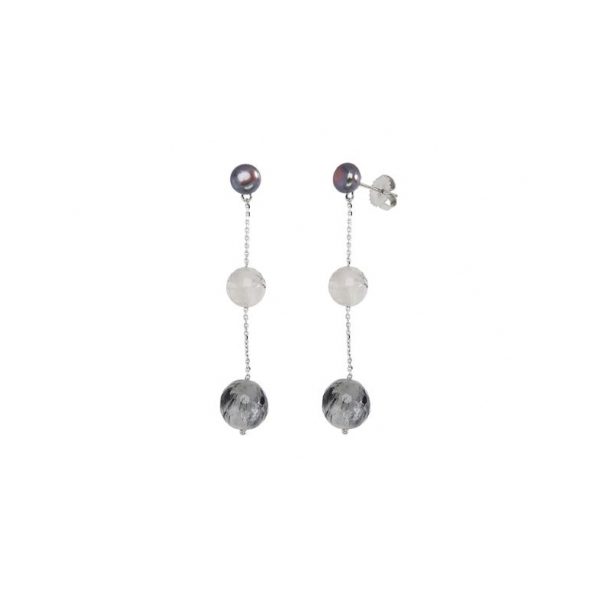 STERLING SILVER/GOLD COMBO GEMSTONE EARRINGS by Honora