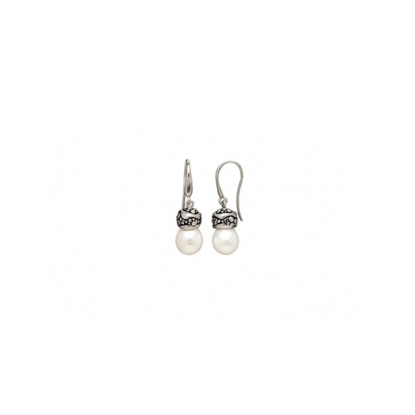 STERLING SILVER / GOLD COMBO PEARL EARRINGS by Honora