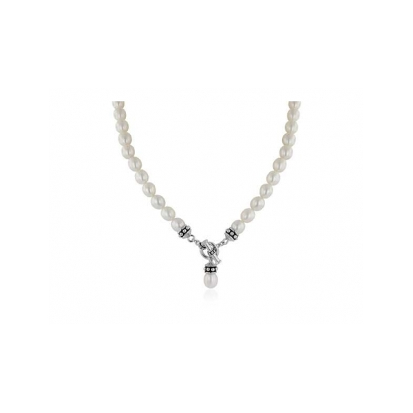 "17"" WHITE FRESH WATER PEARL TOGGLE NECKLACE"