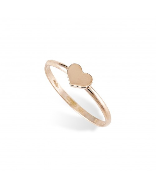 ROSE OVER STERLING SILVER HEART RING