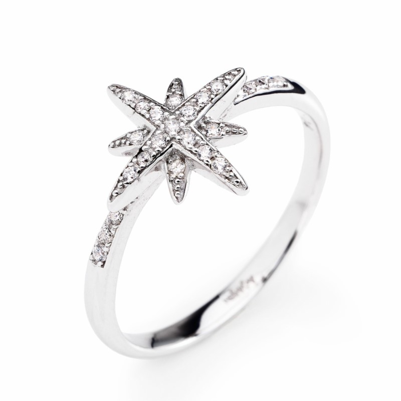 RHODIUM SOUTHERN CROSS RING WITH WHITE CUBIC ZIRCONIA