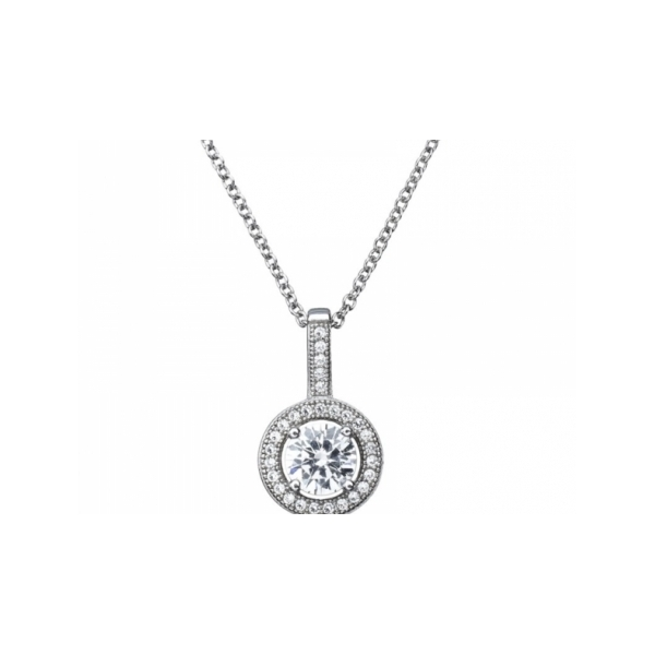SS MICROPAVE CZ PENDANT 1.12CT ON CABLE CHAIN
