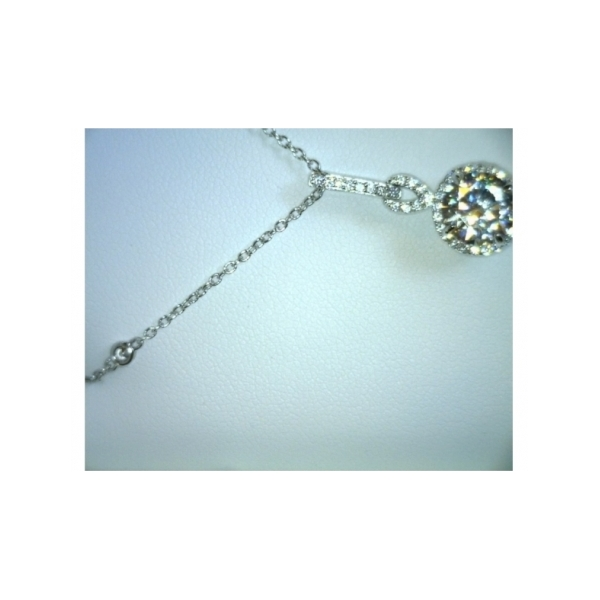 SS BEZEL SET CZ CHAIN WITH ROUND CZ SURROUNDED BY CZS PENDANT 2.60CT
