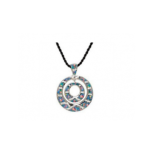 SS AND CZ MULTI-OPALITE CIRCLES PENDANT ON BLACK CORD