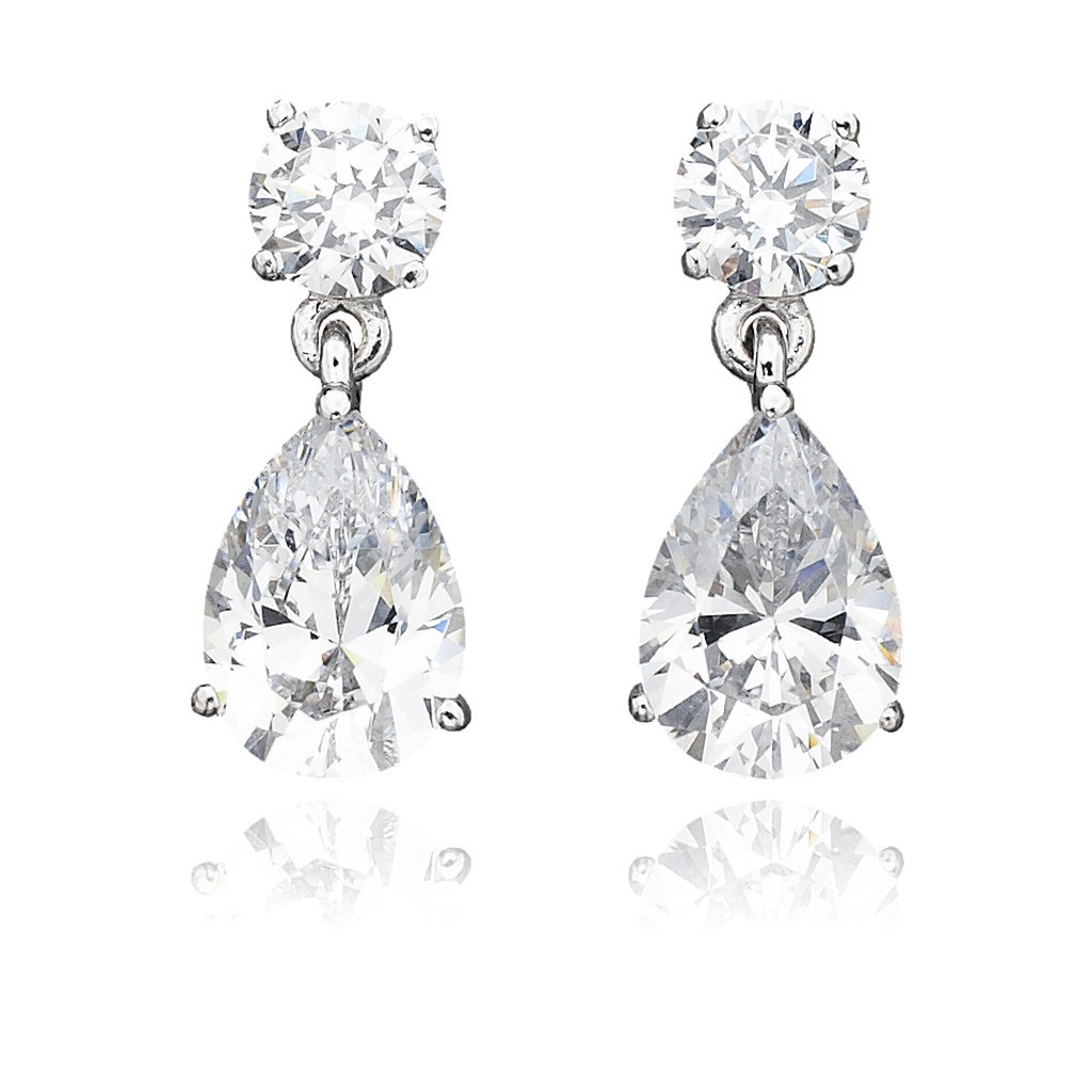 SS PEAR DROP CZ STUD EARRINGS 3CT