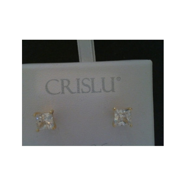 GOLD VERMEIL 2.5CT PRINCESS CUT CZ STUD EARRINGS