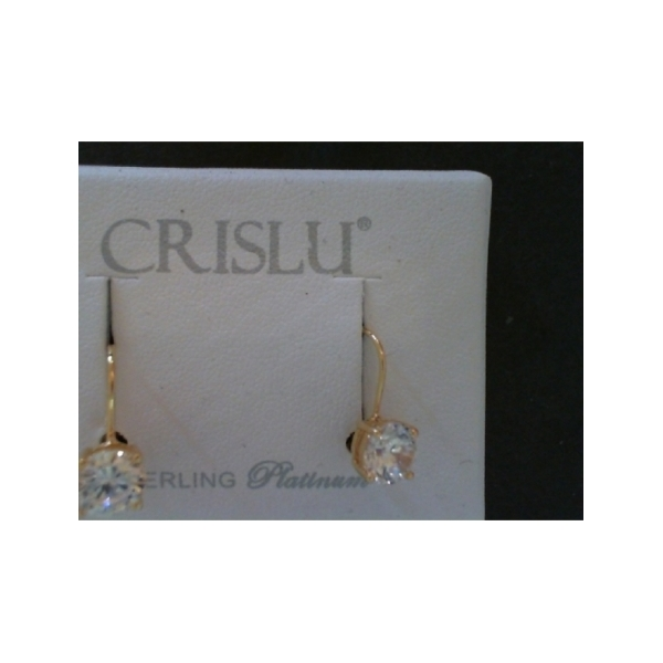 GOLD VERMEIL LEVERBACK EARRINGS WITH 2CT ROUND CZ